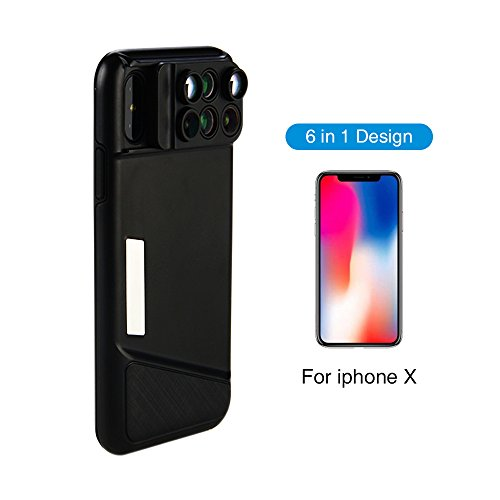 6 in 1 Dual Camera Lens for iPhone X, 160 Degree Fisheye Lens, Angle Lens, 20X Zoom Macro Lens, Telescope Lens for Apple iPhone X Review