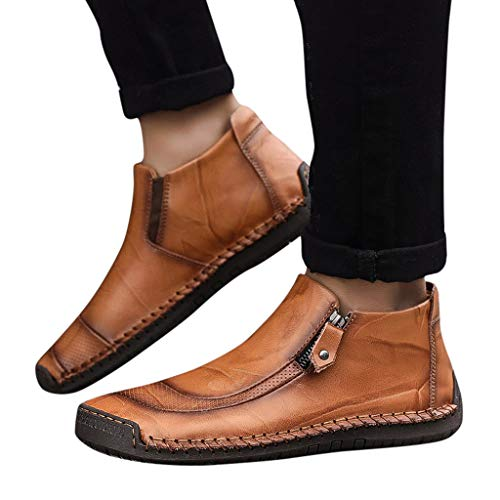Mens Chelsea Ankle Boots Soft Leather Slip-On Driving Loafers Oxford Walking Work Dress Shoes Resistant Shoes (US:7.5 (40), Gold) ()