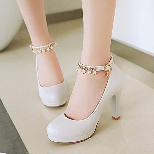 Rough Eight Waterproof Shoes Spring White Beads Wild Female Women'S Thirty Platform And Autumn Shoes KPHY Bandage Round 10Cm Shoes Heel High wFqHWz8