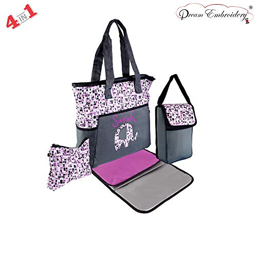 Personalized 4 in 1 Diaper Bag Set Premium Diaper Bag   Baby Tote Bags -Free Monogram/Name Embroidered   Ideal for Gift   Baby Bag   Mommy Bag (Pink Elephant)