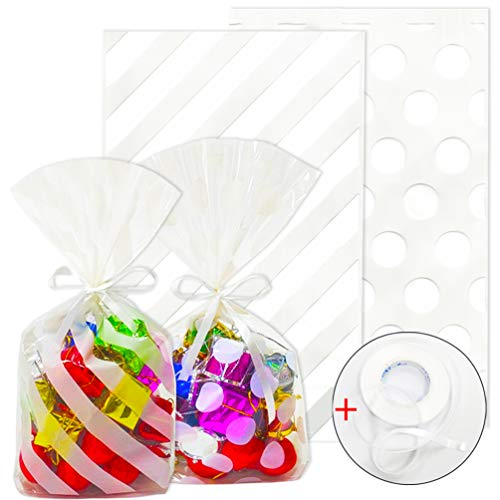 ADIDO EVA 200 Packs White Stripe Cellophane Bags and White Polka Dot Candy Bags 8.3 x 5.1 x 1.6 in Clear Plastic Treat Bags with Ties for Cookie Candy Snack Wrapping Party Favor Bags ()
