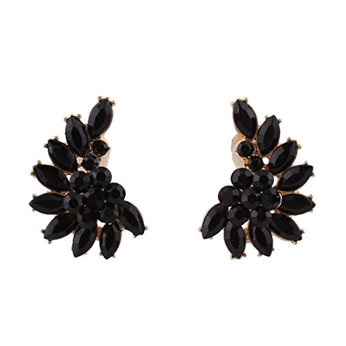 Vintage Gold-tone Black Crystal Clip on Earrings Without Piecing for Women Party Easy to Wear Earrirngs