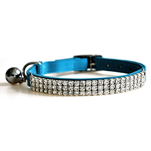 Picture of CHUKCHI Soft Velvet Safe Cat Adjustable Collar Bling Diamante With Bells,11 inch for small dogs and cats (Blue)