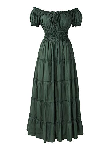 ReminisceBoutique Renaissance Dress Costume Pirate Peasant Wench Medieval Boho Chemise (Regular, Green)