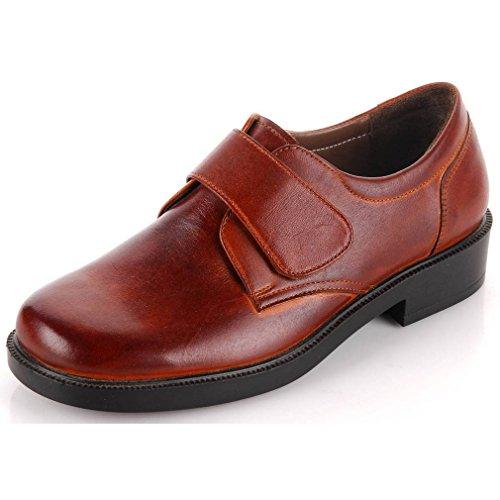 Epicstep Mujeres Casual Dress Formal Business Velcro Cuero Genuino Oxfords Mocasines Zapatos Marrón