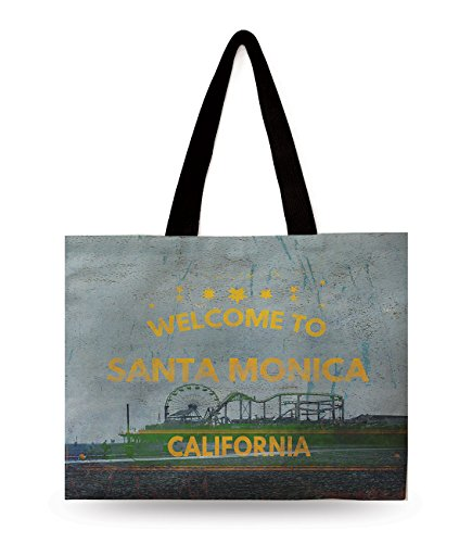 Designer Cotton Tote 100% - Designer's Collection Digital print 100% Cotton Canvas X-Large Tote Bag Santa Monica with Two Sided Print featuring Beautiful Places and Trade Mark of USA