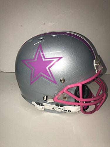 (Dallas Cowboys Professional, Custom Designed & Painted Silver & Pink Football Helmet! Breast Cancer)