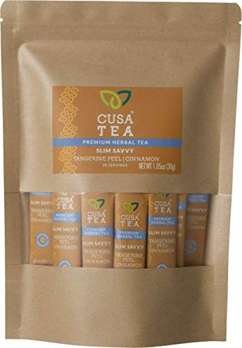 Cusa Tea: Slim Savvy Herbal Tea – Caffeine Free – Tangerine Peel & Cinnamon for Detox, Metabolism Support – No Sugar, Artificial Flavors – Ready in Seconds – Hot or Iced Tea