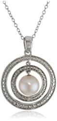 Sterling Silver 8-8.5 MM Freshwater Cultured Pearl and Diamond Pendant Necklace, (0.05 Cttw, G-H Color, I2-I3 Clarity), 18""