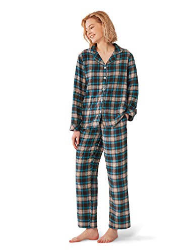 SIORO Comfy Pajamas for Women 2-Piece Warm and Cozy Flannel Pj Set of Loungewear Button Front Top Pants,Blue XL (Cozy Flannel)