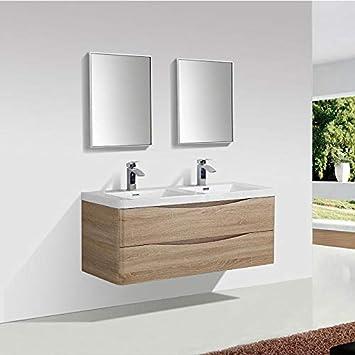 STANO. Meuble Salle de Bain Design Double Vasque Piacenza Largeur 120 cm,  chêne Clair