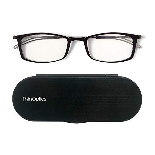 - ThinOptics Brooklyn reading glasses + Milano anodized aluminum, magnetic case | Rectangular black frames, 2.00 Strength