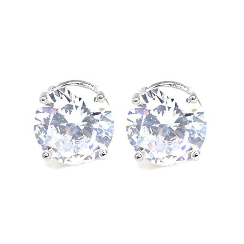 Me Plus Stainless Steel Round Cut Cubic Zirconia Stud Earrings With Clear Case - Gold, Silver (3mm~12mm) (12mm-Silver) (Fashion Case Earrings)