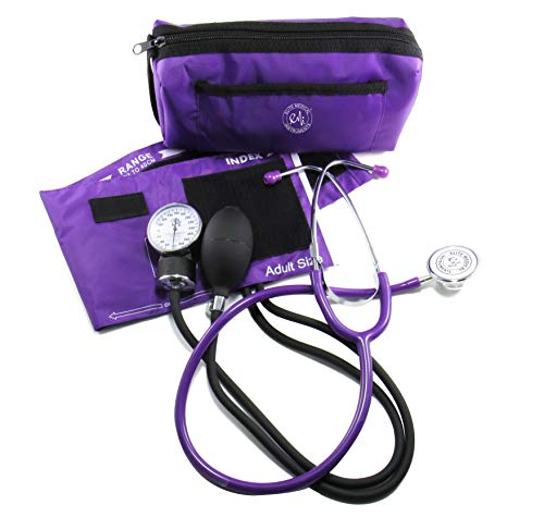 EMI #305 PURPLE Aneroid Sphygmomanometer Manual Blood Pressure Monitor with Adult Cuff and Dual Head Stethoscope Set Kit