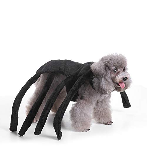 Coppthinktu Spider Dog Costume Halloween Tarantula Pet Costumes Outfit Apparel Furry Spider Legs -