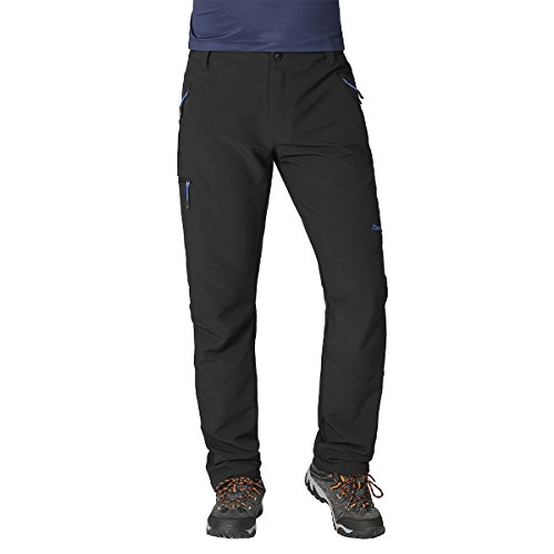 ZOOMHILL Mens Stretch Active Pants Comfort Fit Trousers (Black, ()