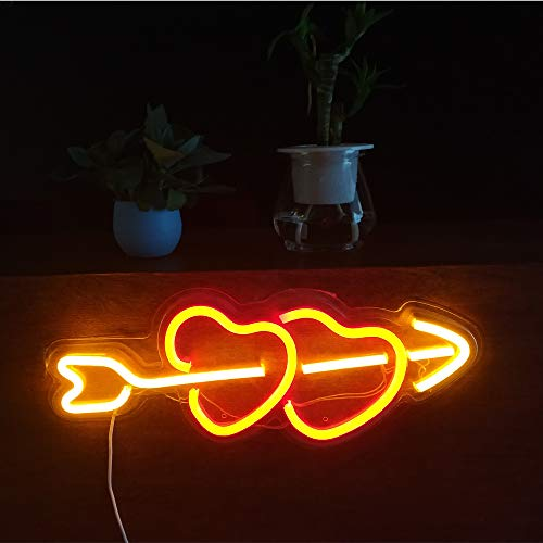 (15.9' Decorative LED Heart Shaped Neon Sign Light, Wall Decor Art Neon Sign for Home Decoration,Bedroom, Lounge, Office, Wedding, Christmas, Valentine's Day Party Operated by USB)