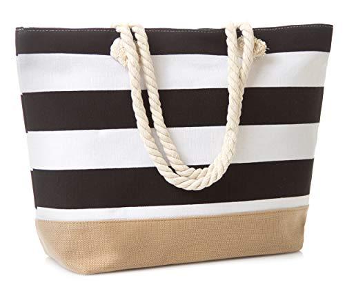 "Leisureland Canvas Tote Beach Bag, Water Resistant Shoulder Tote Bag (L20""xH15""xW6"", Stripe Black)"