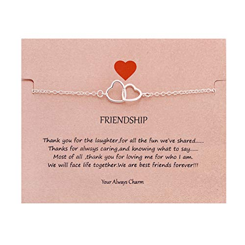 Your Always Charm Double Heart Infinity Knot of Friendship Bracelets (Silver) Double Heart Charm Jewelry