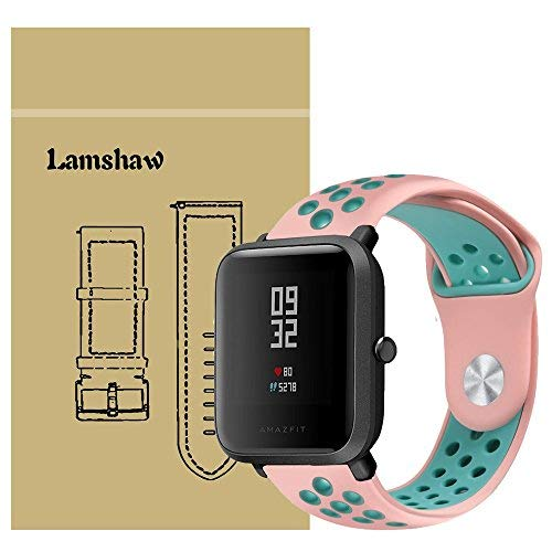 for Xiaomi Amazfit Bip Band, Lamshaw Silicone Soft Band with Ventilation Holes Replacement Straps for Xiaomi Huami Amazfit Bip Younth Watch (Ventilation Holes Silicone_Pink+Green)