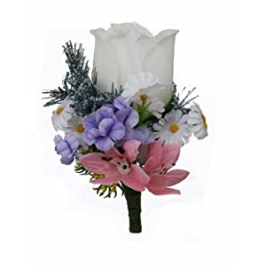 Wildflower Silk Rose Boutonniere - Groom Boutonniere Prom 15
