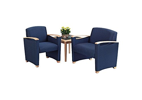 Fabric Corner Seating Group Weight: 159 lbs Navy Fabric/Cherry Finish