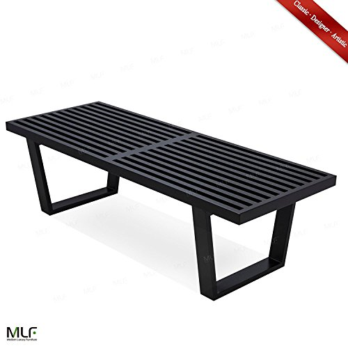MLF George Nelson Platform Bench (3 Sizes Available), Wooden Entryway Bench, 4 Feet in Black Painted OAK (4' Classic Wooden Bench)