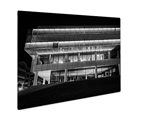 Georgetown Exterior Wall - Ashley Giclee The Exterior Of The Embassy Of Sweden At Night In Georgetown W, Wall Art Photo Print On Metal Panel, Black & White, 24x30, Floating Frame, AG6562042