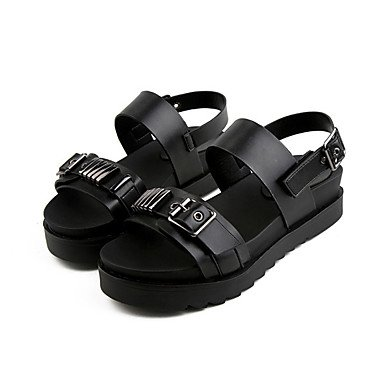 LvYuan Tacón Plano-Confort-Sandalias-Vestido Informal-PU-Negro Blanco Black