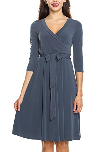 KAYLYN KAYDEN KLKD Women's 3/4 Sleeve Knee Length Self-Tie Faux Wrap Dress Made in U.S.A.