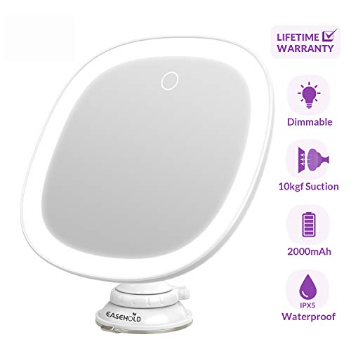 Easehold Lighted Shower Mirror Makeup Magnifying Mirror Rechargeable Bathroom Vanity with 25 Led Lights Strong Adsorption 360° Rotation for Home Travel (2019 Newest)