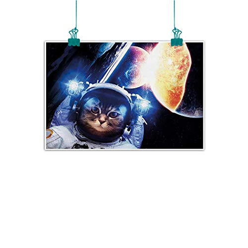 Modern Oil Paintings Space Cat Kitten with Space Suit Planets Nebula Supernova Eclipse Artwork Modern Minimalist Atmosphere W28 xL20 White Orange and Dark Blue