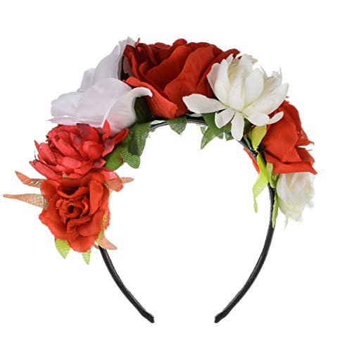 (Floral Fall Day of The Dead Flower Crown Festival Headband Rose Mexican Floral Headpiece HC-23 (Red)
