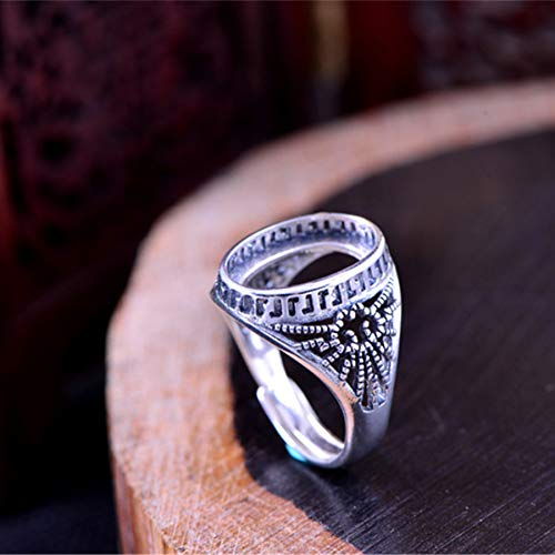 Ring Blank (10x14mm Oval Blank) Adjustable Thai Sterling Silver Ring Base Filigree Oval Cabochon Ring Setting R293B