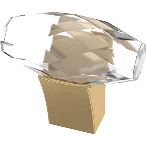 Franklin Brass P40857K-117-C Cut Glass Oval Kitchen or Furniture Cabinet Hardware Drawer Handle Knob, 1-1/2-Inch (38mm), Brushed Brass, 4-Pack