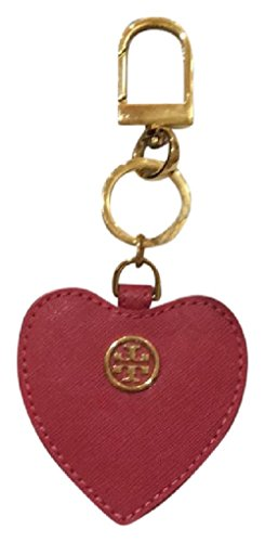 Tory Burch saffiano leather heart key fob dark peony