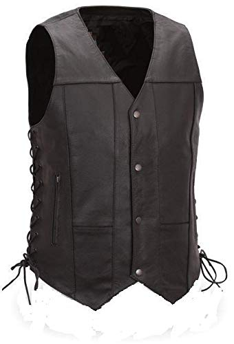 (Bikers Leather - Men's Leather Motorcycle Vest - Biker Vest - 10 Pockets (110) -2X-Large)