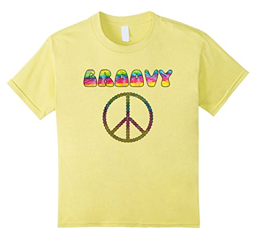Kids Vintage Retro 1970s Tie Dye Groovy Peace Sign T-Shirt 8 (70s Look For Girls)