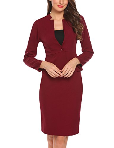 ANGVNS Women's 2-Piece Long Sleeve Office Lady Blazer and Skirt Suit Set by ANGVNS