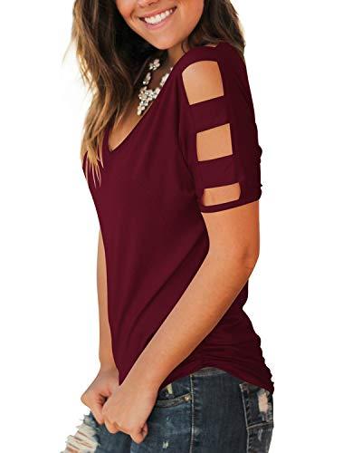 Jescakoo Women's Short Sleeve Cut Out Cold Shoulder Tops Deep V Neck T Shirts 4