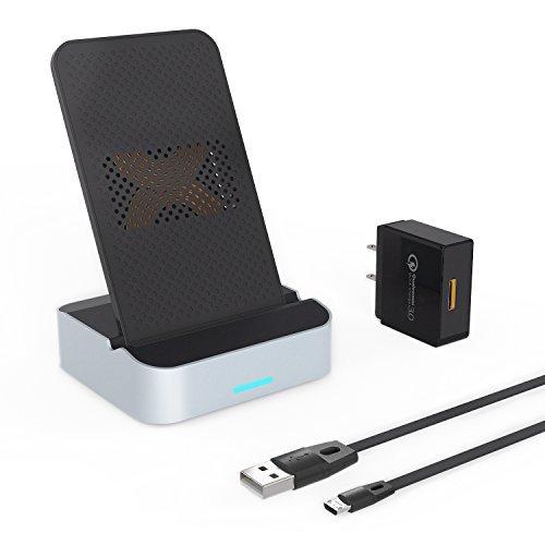 AIKO Cargador inalámbrico, 10W Cargador inalámbrico rápido con Adaptador QC 3.0 AC (7.5W) para iPhone X/8/8 Plus & (10W)...
