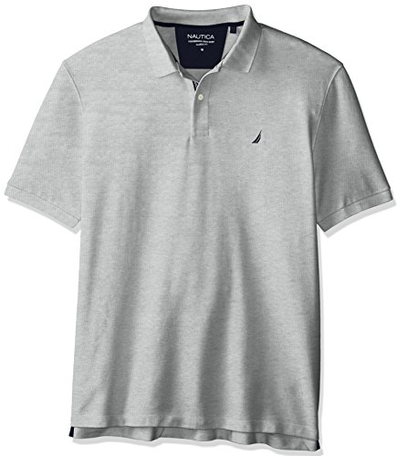 Nautica Men's Standard Classic Short Sleeve Solid Polo Shirt, Grey Heather, XX-Large