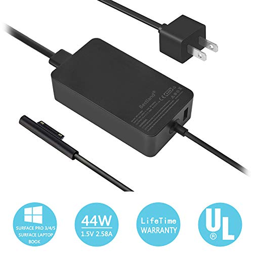 [UL Certified] Surface AC Adapter 44W 15V 2.58A Surface Power Supply Adapter for Microsoft New Surface Pro 5 Pro 4 Pro 3 i5 i7 2017 Tablet Model 1625 with 5V - 3 Tablet Pro