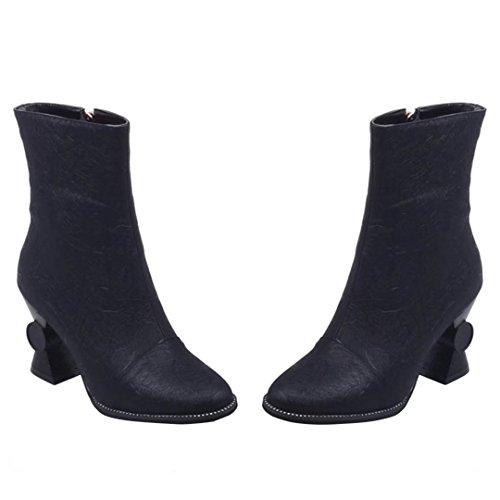 AIYOUMEI Damen Winter Blockabsatz Stiefeletten mit Reißverschluss und 8cm Absatz Elegant Kurzschaft Stiefel Schwarz
