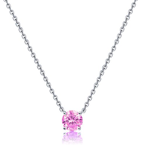 Bella.Vida Womens Sterling Silver Simulated October Birthstone Pendant Necklace with 8mm Swarovski Elements Crystal Length:16