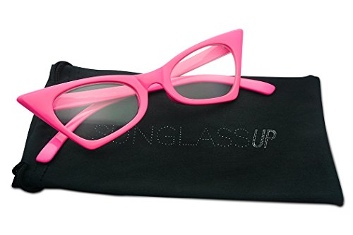 1950's Retro Vintage High Pointed Colorful Clear Lens Geometric Cat Eye Glasses Non-Prescription (Neon Pink, - Cat Glasses Pink Eye