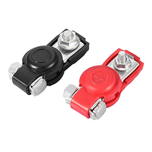 KIMISS 2Pcs Universal Car Battery Terminals Cable Clamp Terminals Connector with Protective Cover Battery Distribution Connector: