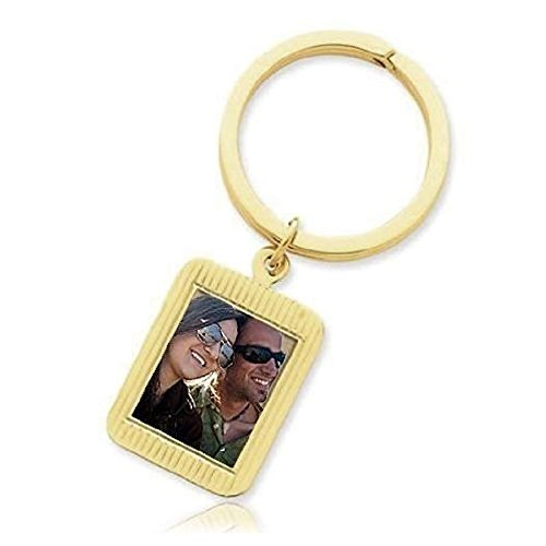 (PicturesOnGold.com Photo Engraved Rectangle Keychain - Sterling Silver with Engraving)