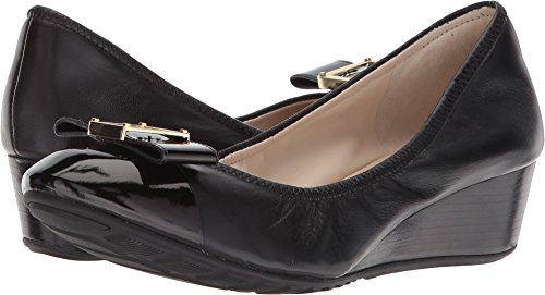 Cole Haan Women's Emory 40mm Bow Wedge II Black Leather 7.5 B US