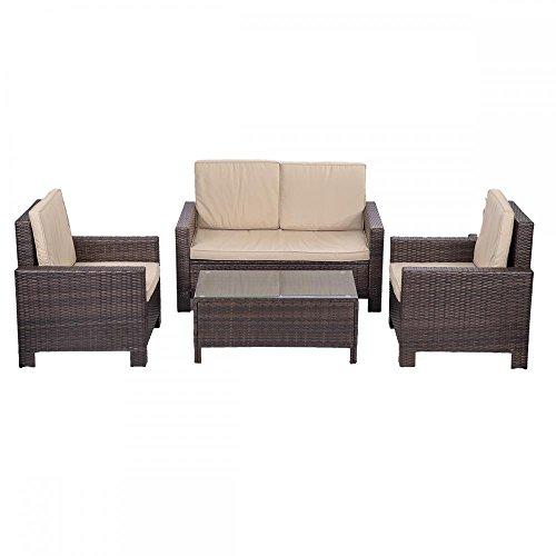 4pc PE Rattan Wicker Sofa Set Cushion Outdoor Patio Sofa Couch Furniture (Set Outdoor Wicker Sofa)